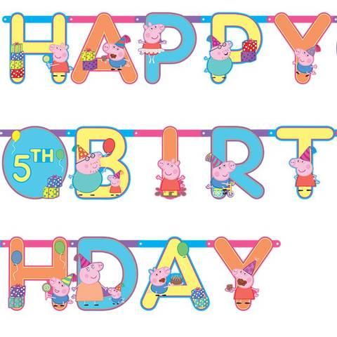 Bilde av Peppa Gris Brevbanner Happy Birthday 3.2m