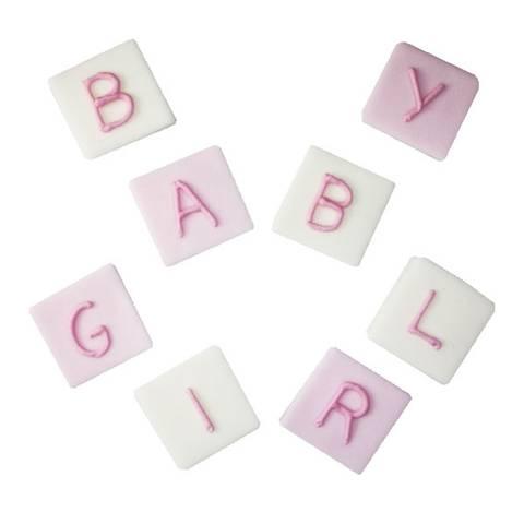 Bilde av Kaketopper Baby Girl Bokstaver Sukkertopper 8stk