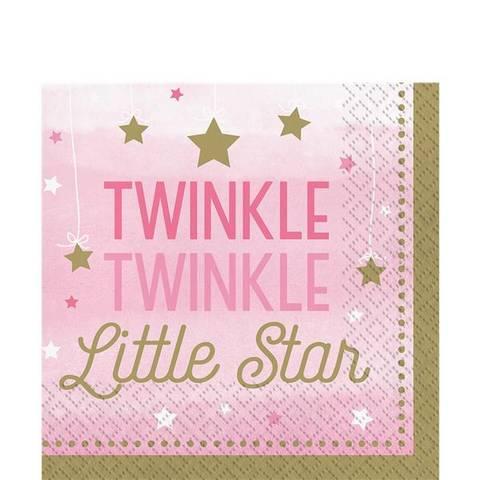Bilde av Twinkle One Little Star Servietter Rosa 33cm 16stk