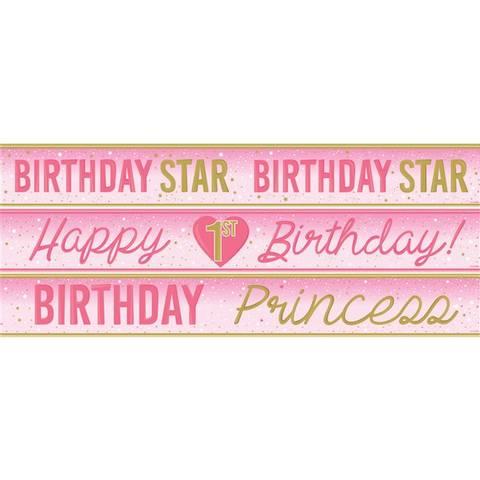 Bilde av Twinkle One Little Star Gratulerer 1 år Banner Rosa