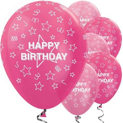 Bilde av Happy Birthday Rosa Ballonger Latex 27cm 6stk