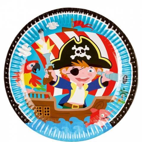 Bilde av Kaptein Pirat  Papptallerkner  23cm 8stk