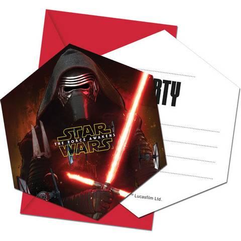 Bilde av Star Wars The Force Awakens Party Invitasjoner 6stk
