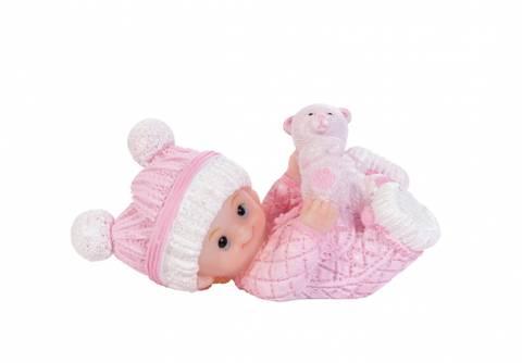 Bilde av Figur Baby Liggende Rosa 7.1cm