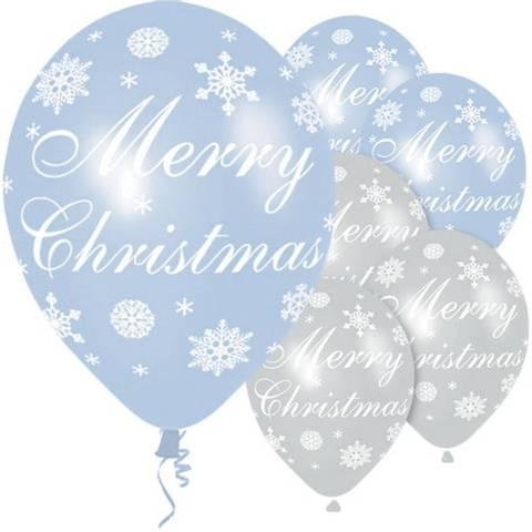 Bilde av Merry Christmas Blå & Sølv Snøfnugg Ballonger 6stk