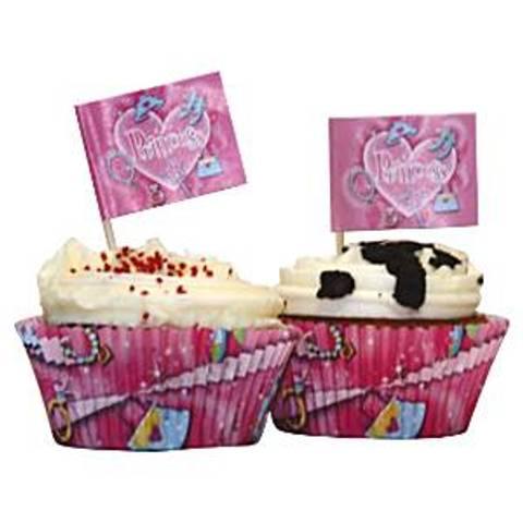 Bilde av Muffinsformer Prinsesse Prisme med Flagg 24stk