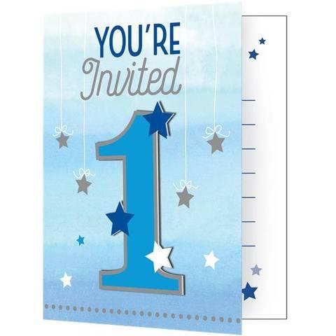 Bilde av Twinkle One Little Star Blå Invitasjoner 8stk
